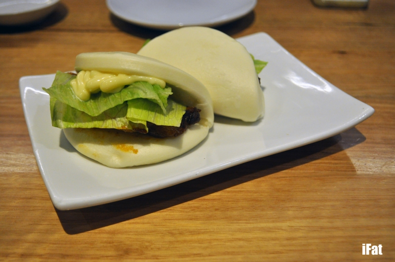 Ippudo pork buns with Japanese mayonnaise and lettuce