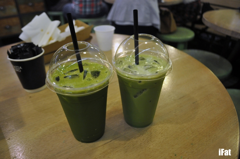 Iced Green Tea and Iced Green Tea Latte. Spot the difference?