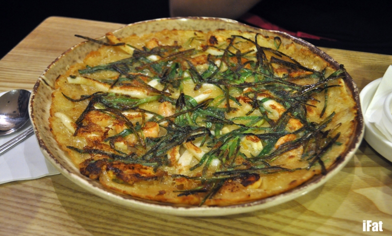 Seafood and leek pancake