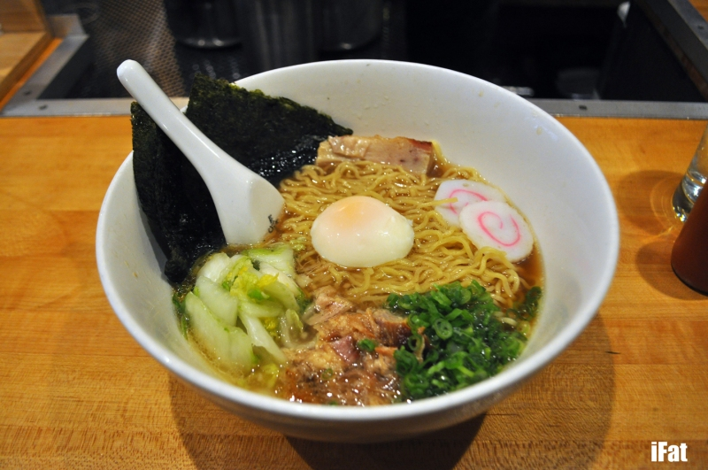 Momofuku Ramen with pork belly, pork shoulder and poached egg.