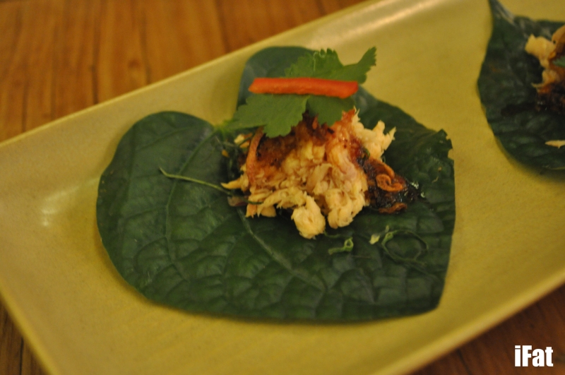 Smoked trout on betel leaf with galangal, roasted chilli and fried shallots