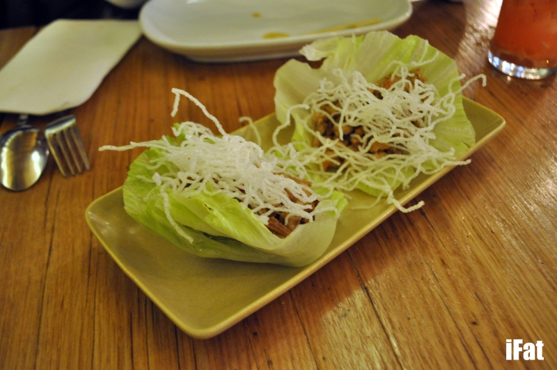 Chicken Lettuce Delight; san choy bao with lup cheong, mushrooms, water chestnuts  and crispy glass noodles