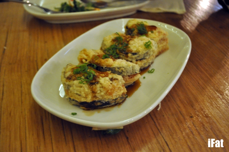Awesome fried stuffed eggplant with pork and prawns.